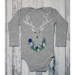 Hand painted baby bodysuit Blue Flowers Reindeer