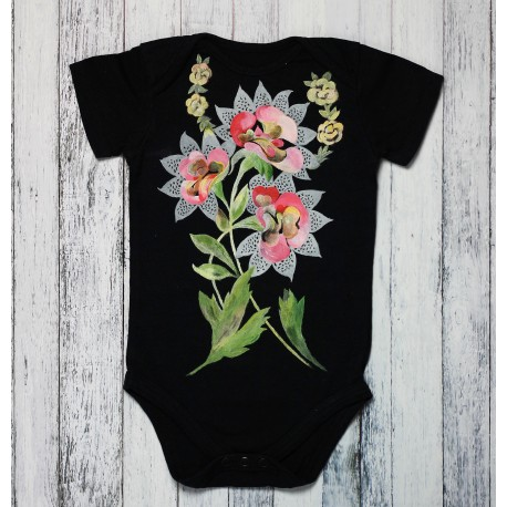 Hand painted baby bodysuit Frida in love