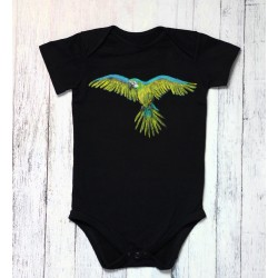 Hand painted baby bodysuit Parrot