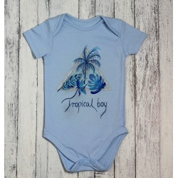Hand painted baby bodysuit Tropical boy