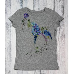 Hand painted kids t-shirt Japanese flowers 2
