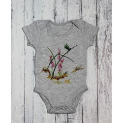 Hand painted baby bodysuit Wild orchid