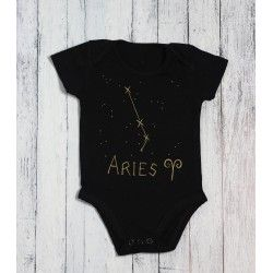 Hand painted baby bodysuit black&gold ARIES