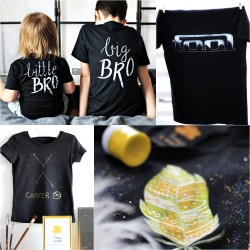 Hand painted t-shirt with your own project - inscription/ small graphic