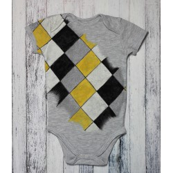Hand painted baby bodysuit Diamonds
