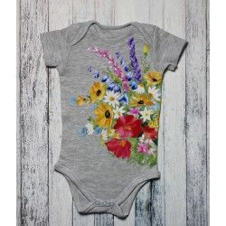 Hand painted baby bodysuit Summer breeze